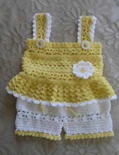 Crochet Pattern for Daisy Tank and Shorts Set Baby Girl PDF image 1 Baby Girl Crochet, Crochet Baby Clothes, Crochet For Kids, Knit Crochet, Crochet Daisy, Booties Crochet, Crochet Summer, Baby Patterns, Crochet Patterns