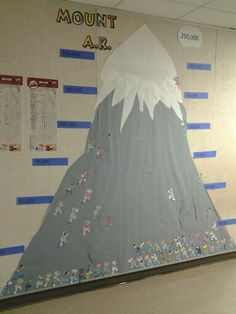 Mount A.R.!!! Each of our 60 students colored a mountain climber, and the more they read...the higher they go!!!!
