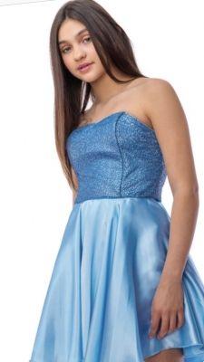 df08f10cbd2 Fabulous strapless sequin bodice tops a gorgeous satin skirt. Detachable  straps included. Skater Skirt