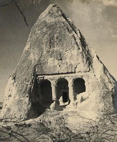 1935 photograph of a rock-carved wine press in Cappadocia, Turkey taken by John Whiting and Eric Matson for the National Geographic.  There are 264 photos from their trip at the Library of Congress in two volumes.  This photo is from the first volume.