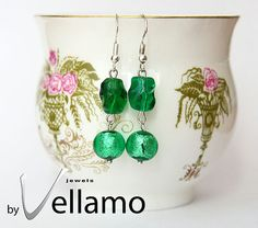 Earrings with poison green Murano glass with silver by byVellamo, $22.00