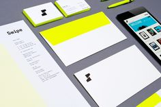 Swipe business card, letterhead and envelope with neon yellow. www.swipestudio.com