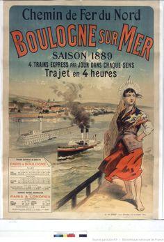 Chemin de fer du Nord. Boulogne sur Mer. Saison 1889. 4 trains express par jour dans chaque sens : [affiche] / [non identifié]