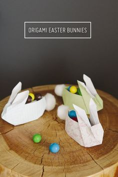 Easy Easter crafts that look adorable - for older kids, these origami bunnies will be the perfect places for their chocolate eggs!