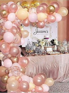 121-Piece Rose Gold and Blush Pink Balloon Garland Arch Kit Baptism Party Decorations, Baby Shower Balloon Decorations, Baby Shower Balloons, Balloon Garland, Birthday Balloons, Clear Balloons With Confetti, Rose Gold Balloons, Pink And Gold Birthday Party, Girl Birthday