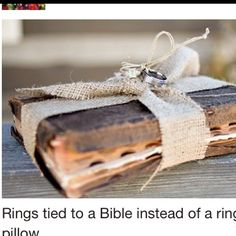 Would be awesome to have a personalized bible from the parents with names on it, and put that on the pillow too, or if there are two ring bearers