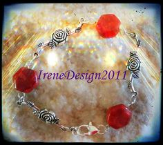 Beautiful Handmade Silver Bracelet with Facetted Orange Agate & Roses Would you like to wear this bracelet? Please let me know, thank you :-) You can find this bracelet here and other beautiful...