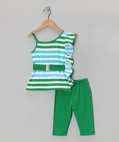 $18.99 Size 2T Stylish Girls Toddlers Fashion Outfit Green Striped Tunic and Leggings | eBay