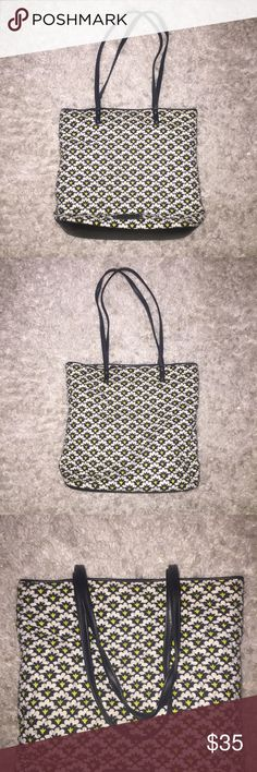 Vera Bradley Day Tote Chic Vera Bradley tote with leather drop straps and leather bottom. I don't normally like Vera Bradley, but this item was a little more edgy! I'm including the matching glasses/sunglasses pouch. Printed in the retired black, white and chartreuse Fanfare pattern. All in excellent condition. Vera Bradley Bags Totes