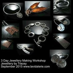 Student work jewellery by Tracey at a 3 day workshop at www.lavidalerie.com. #silversmithing #foldforming #etching &#riveting