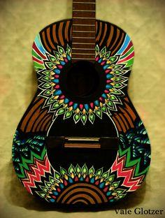 Guitar art    www.flickr.com/siberianita                                                                                                                                                     Más Guitar Art Diy, Acoustic Guitar Art, Ukulele Art, Guitar Painting, Music Guitar, Guitar Case, Ukulele Design, Graffiti, Frida Art