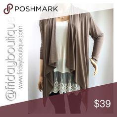 Mocha Cardigan/Tunic Wear as a cardigan or as tunic. 88% polyester, 9% rayon, 3 % spandex Tops Tunics