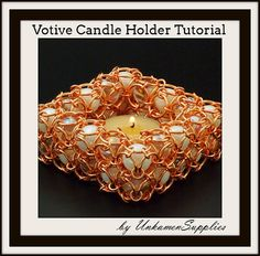 Votive Candle Holder Tutorial Votive Candle Holders, Votive Candles, Chainmaille, Glass Marbles, Step By Step Instructions, Projects To Try, Arts And Crafts, Inspirational Jewelry, How To Make