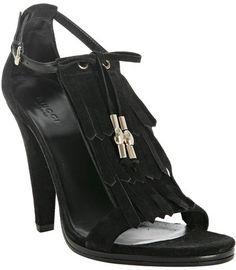 Black Suede Fringe T-strap Sandals