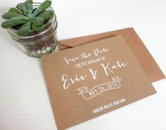 Rustic Save the Date Card, Ink-Drawn White on Kraft Calligraphy Style with Envelope