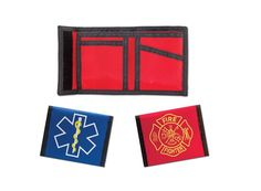 FIRE / EMS WALLETSEMI introduces its Fire and EMS wallets. The billfold style wallets have 3 spacious compartments and include a photo sleeve. This lightweight yet durable wallet is made from 400 dennier nylon and has a heavy duty velcro closure. It is available in either red/maltese cross or blue/S.O.L. Weighs 3 oz. A great gift for your 1st responder professional.
