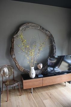Elle Decor Modern Life Concept House Photos  ORGANIC shape and branches for modern straight line relief