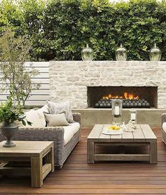An outdoor fireplace design on your deck, patio or backyard living room instantly makes a perfect place for entertaining, creating a dramatic focal point. Outdoor Fireplace Designs, Backyard Fireplace, Backyard Patio, Backyard Landscaping, Fireplace Ideas, Fireplace Stone, Fireplace Outdoor, Linear Fireplace, Fireplace Seating