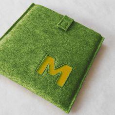 Accueil › Résultats de recherche › MaricFineGoods › iPad sleeves  Custom Monogram iPad Case - Merino Wool Felt Grass Green