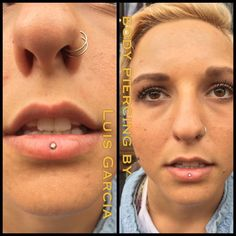 Reversed Vertical Labret piercing done by Cody Vaughn of Vaughn Body Arts. Jewelry by Anatometal. Belly Button Piercing Jewelry, Navel Piercing, Piercing Tattoo, Cute Tongue Piercing, Ashley Piercing, Different Types Of Piercings, Vertical Labret Piercing, Tiki Tattoo, Facial Piercings