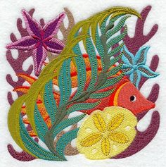 Jacobean Coral Reef Square Embroidered by EmbroideryEverywhere, $15.99