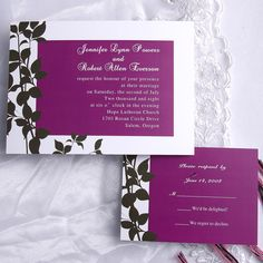 Printable purple leaf wedding invitations EWI231 as low as $0.94