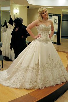 This dress is so royal and princess-looking. I love it!! This may be my favorite wedding gown I've ever seen. I would love to see it with little beaded cap sleeves. I think that would make it perfect! <3