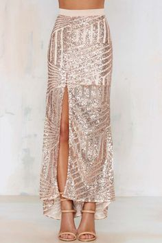 Sequin Skirt - Blush ///