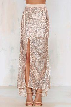 Sequin Skirt in Blush//