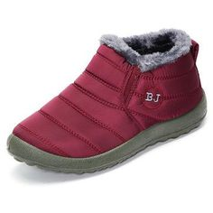 Designer Letter Warm Fur Lining Flat Slip On Ankle Boots For Women - NewChic Mobile.