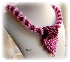Beaded pink seed bead Cellini Spiral necklace $100.00