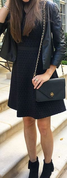 Fit & Flare Tweed Dress with Leather jacket, Tory Burch bag and Born Booties