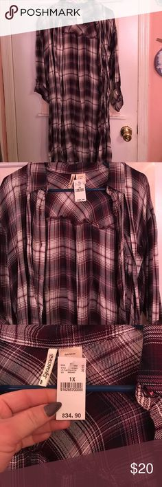 Brand new plaid shirt dress Brand new plaid button up shirt dress,never worn ,from Wet Seal in size 1x. I apologize in advance some of my clothes is little wrinkly due to years in closet and never getting chance to wear. But I promise if I ship it out it will all be taken care off Wet Seal Dresses