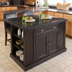 Home Styles Nantucket Kitchen Island & Two Stools with Black Granite Inlay and Breakfast Bar in Distressed Black  | KitchenSource.com