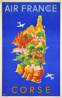 1949 Corsica by Air France vintage travel poster