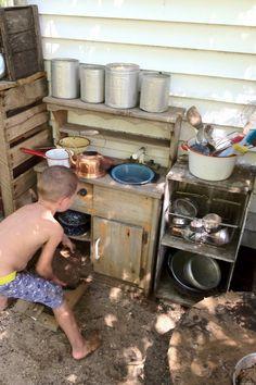 Emilie Brehm's Tinkering Space: stump park, outdoor mudpie kitchen, and great indoor creating space Outdoor Play Kitchen, Kids Outdoor Play, Outdoor Play Spaces, Mud Kitchen, Backyard Play, Outdoor Learning, Outdoor Fun, Backyard Kitchen, Rustic Backyard