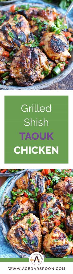 Shish Taouk Chicken Thighs with Mediterranean Eggplant Salad are a twist on traditional shish taouk grilled chicken kebabs. // A Cedar Spoon