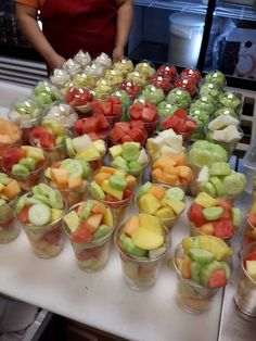 Fresh Fruit Cups for Healthy Fundraising Fundraiser Food, Bake Sale Treats, Healthy Snacks, Healthy Recipes, Healthy Options, Fruit Cups, School Fundraisers, Food And Drink, Cooking Recipes
