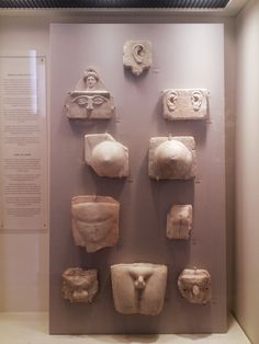 Votive plaques in request, or gratitude of help, found in the vicinity of the temple of Asklepios in Athens, from the National Archaeological Museum in Athens.