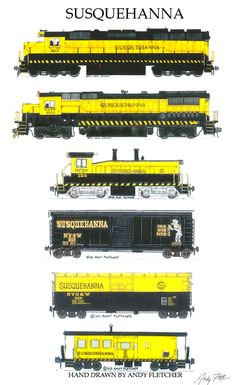 "An 11""x17"" poster with some of Andy Fletcher's hand drawings of 6 Suquehana of the locomotives and rolling stock."