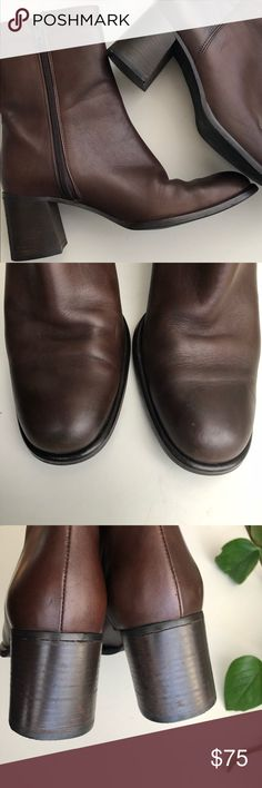 "Coach 7 Brown Boots Lower Calf Block Heel Very nice made in Italy Coach boots. 2.5"" Block heel. Zipper is 7.5"" so that is the length of the shaft of the boot. Top of boot is 10"" circumference which would hit at lower calf. Size 7 B. A scratch on left toe as pictured. Some creasing to toe boxes but lightly worn. Non-smoking home. Coach Shoes Heeled Boots"