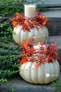 Craft Pumpkin Candle Holders - - Turn a Faux Craft Pumpkin into a Candle Holder Centerpiece. These diy craft pumpkin candle holders do not require any special crafting skills, are incredibly easy to put together and require just a few supplies Pumpkin Topiary, Pumpkin Candles, Pumpkin Centerpieces, Centerpiece Ideas, Halloween Veranda, Halloween Porch, Outdoor Halloween, Autumn Decorating, Pumpkin Decorating