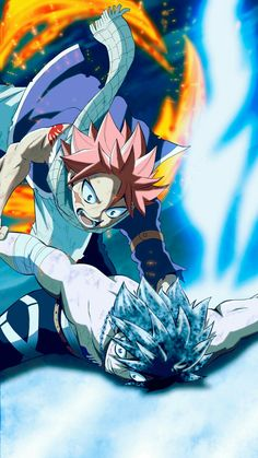 Fairy tail Natsu et Gray Anime Fairy Tail, Natsu Fairy Tail, Fairy Tail Love, Anime Ai, Manga Anime, Death Note, Jellal And Erza, Zeref, Natsu And Gray