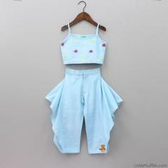 Blue Top And Dhoti Pants   Little Muffet Baby Frocks Designs, Frock Design, White Scarves, White Image, Blue Tops, My Wardrobe, Designer Dresses, Style Me, Rompers