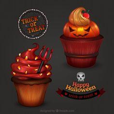 Страшные Хэллоуин кексы Бесплатный векторный