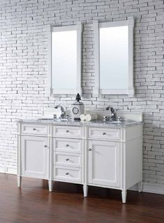 """James Martin Furniture - Brittany 60"""" Cottage White Double Vanity with 2 CM Carrara White Marble Top  - 650-V60D-CWH-2CAR"""