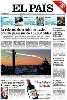 Los Titulares y Portadas de Noticias Destacadas Españolas del 16 de Febrero de 2013 del Diario El País ¿Que le parecio esta Portada de este Diario Español?