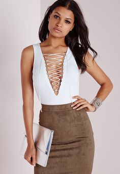Missguided - Lace Up Bodysuit White