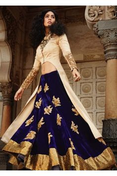 These latest lehenga designs by famous Indian designers are beautiful, stylish, unique and unconventional. They are perfect for festivals and weddings. Lehenga Designs, Indian Attire, Indian Ethnic Wear, Indian Style, India Fashion, Asian Fashion, Indian Dresses, Indian Outfits, Blue Lehenga
