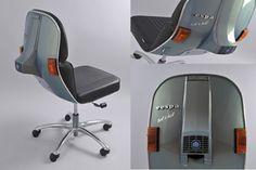 De frontal de Vespa... a respaldo de silla de oficina.